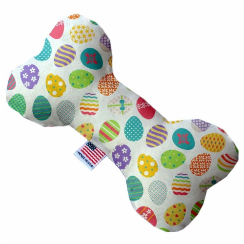 Mirage Pet 1199-SFTYBN6 Easter Eggs 6 in. Stuffing Free Bone Dog Toy Perspective: front