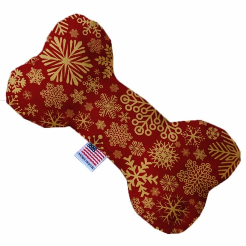 Mirage Pet 1313-SFTYBN6 Red Snowflakes 6 in. Stuffing Free Bone Dog Toy Perspective: front