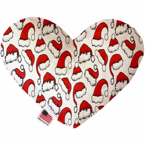 Mirage Pet 1314-SFTYHT6 Santa Hats 6 in. Stuffing Free Heart Dog Toy Perspective: front