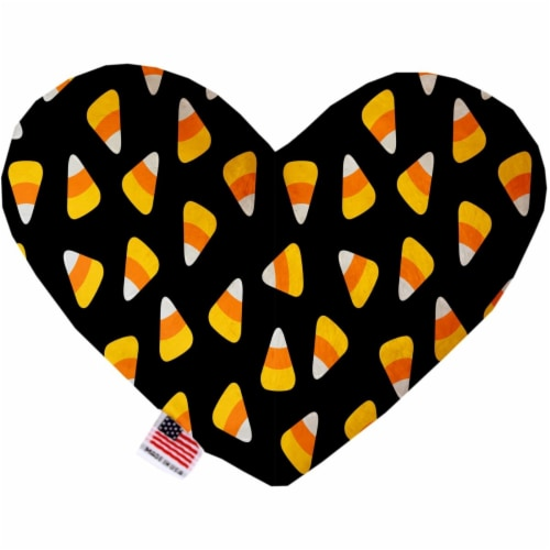 Mirage Pet 1330-SFTYHT6 Candy Corn 6 in. Stuffing Free Heart Dog Toy Perspective: front