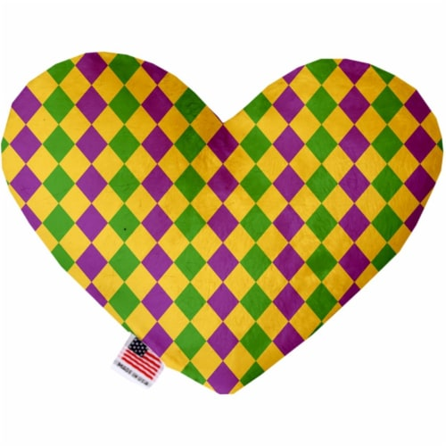 Mirage Pet 1379-SFTYHT8 Mardi Gras Diamonds Stuffing Free 8 in. Heart Dog Toy Perspective: front