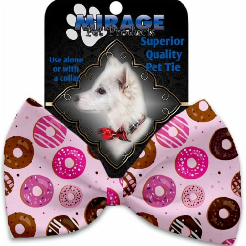 Mirage Pet 1131-VBT Pink Donuts Pet Bow Tie Collar Accessory with Cloth Hook & Eye Perspective: front