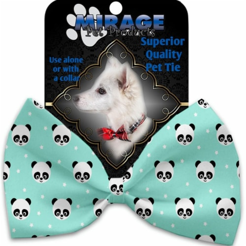 Mirage Pet 1239-VBT Happy Pandas Pet Bow Tie Collar Accessory with Cloth Hook & Eye Perspective: front