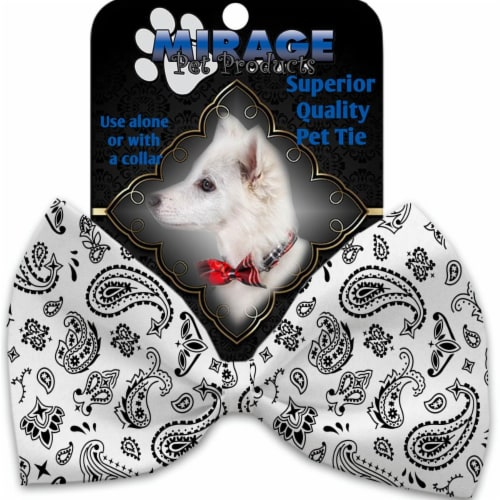 Mirage Pet 1259-VBT White Western Pet Bow Tie Collar Accessory with Cloth Hook & Eye Perspective: front