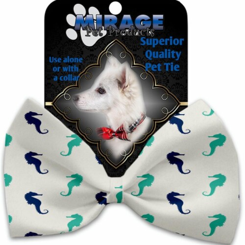 Mirage Pet 1260-VBT Seahorses Pet Bow Tie Collar Accessory with Cloth Hook & Eye Perspective: front