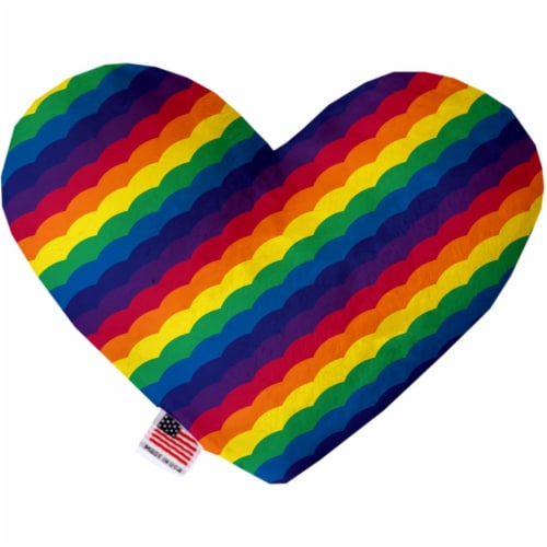 Mirage Pet 1145-CTYHT6 Scalloped Rainbow Canvas Heart Dog Toy - 6 in. Perspective: front