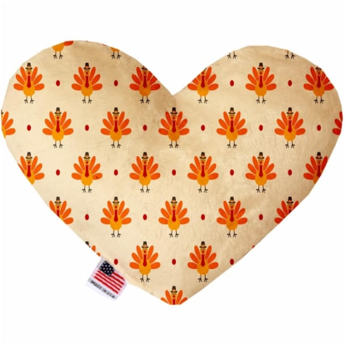 Mirage Pet 1346-CTYHT6 Turkey Trot Canvas Heart Dog Toy - 6 in. Perspective: front