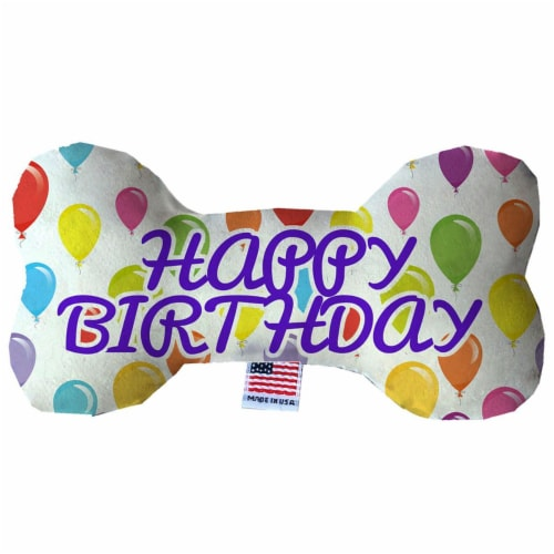 Mirage Pet 1385-SFTYBN8 Happy Birthday Balloons Stuffing Free Bone Dog Toy - 8 in. Perspective: front