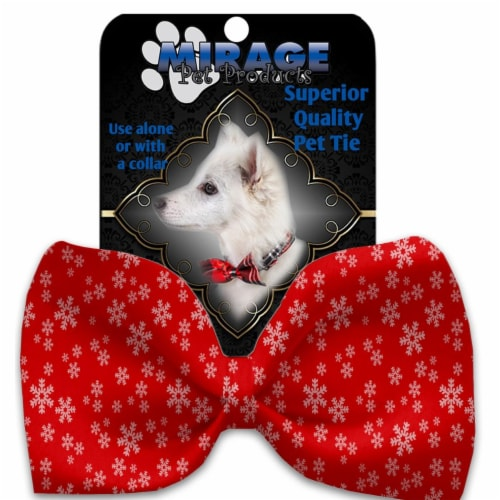 Mirage Pet Products 1399-VBT Snow Flakes Pet Bow Tie Collar Accessory with Cloth Hook & Eye, Perspective: front