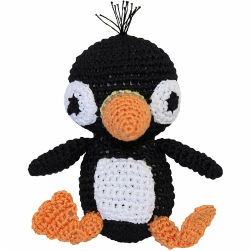 Mirage Pet 500-111 PFN Knit Knacks Organic Cotton Small Dog Toy, Puffin Perspective: front