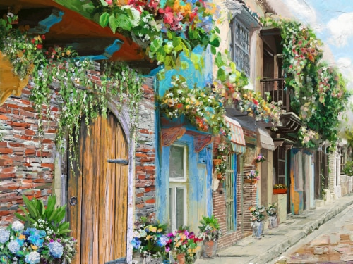 Crystal Art Village Flowers Canvas Wall Art Perspective: front