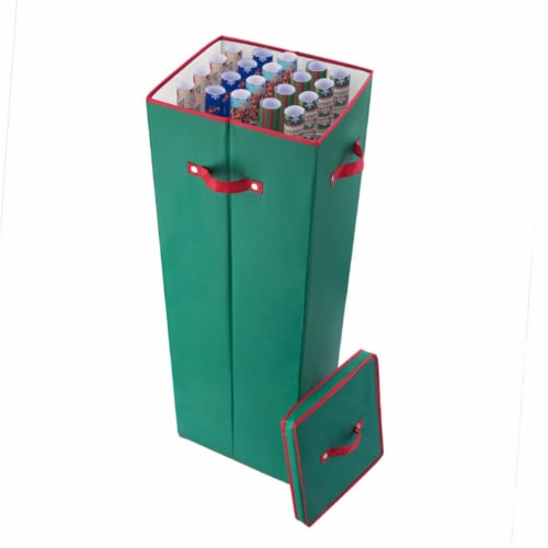 Elf Stor 83-DT5518 5071 40 in. Tall Wrapping Paper Storage Box with Lid, Green Perspective: front