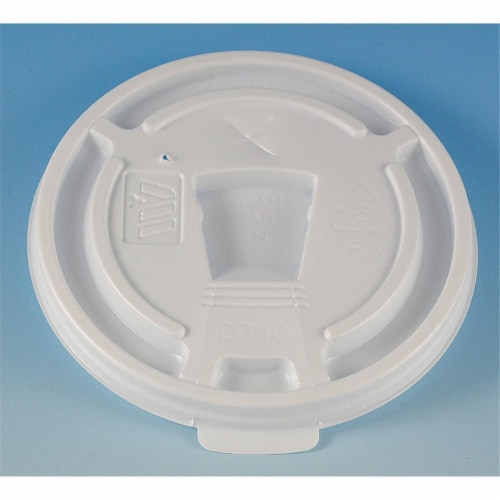 Wincup DT10 CPC 10 oz Drink Thru Plastic Multi Purpose Lid, White - Case of 1000 Perspective: front