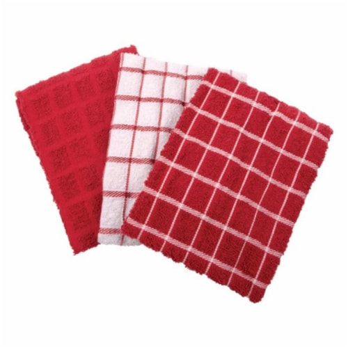 82483 Terry Cotton Kitchen Towel  Paprika - pack of 3 Perspective: front