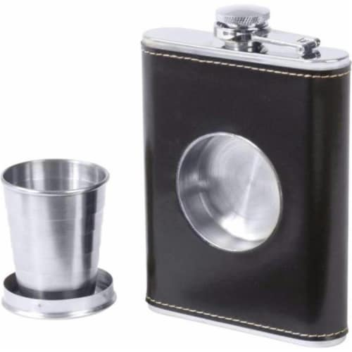 6.8oz Stainless Steel Flask With Built-in Cup Perspective: front