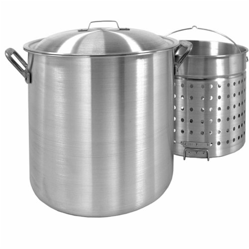 80-Qt. Stockpot with Lid and Basket Perspective: front