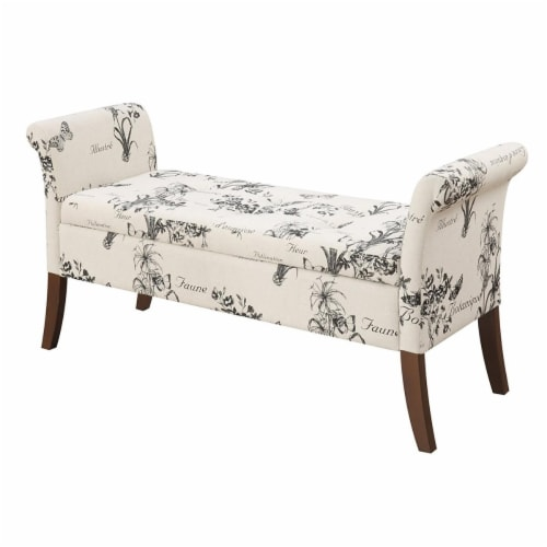 Designs-4-Comfort Garbo Ottoman Storage Bench, Botanical Fabric Perspective: front