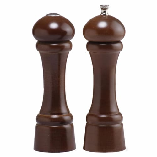 8 Inch - 20cm WindsorWalnut Pepper Mill Salt Shaker Set Perspective: front