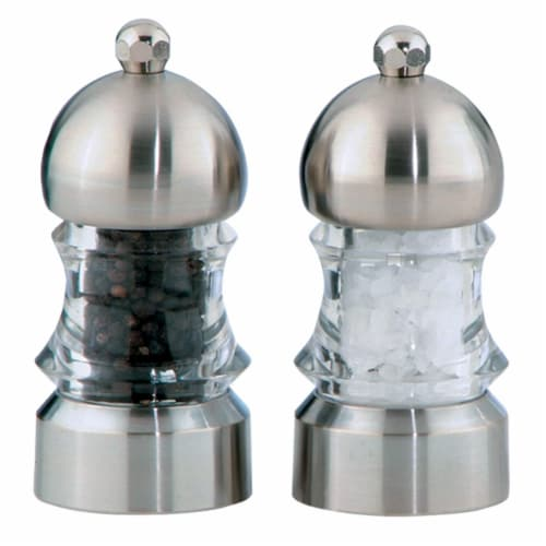 3.5 inch - 9cm Metro - Acrylic/Brushed Steel Pepper Mill/Salt Shaker Set Perspective: front