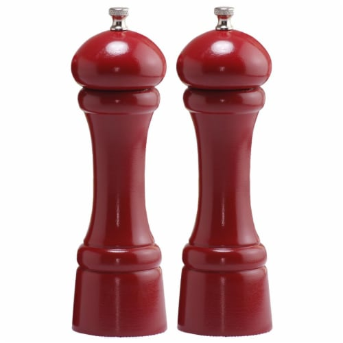 8 in. Candy Apple Red Pepper Mill and Salt Mill Set Perspective: front