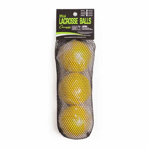 NOCSAE Lacrosse Ball Set, Yellow - Set of 3 Perspective: front