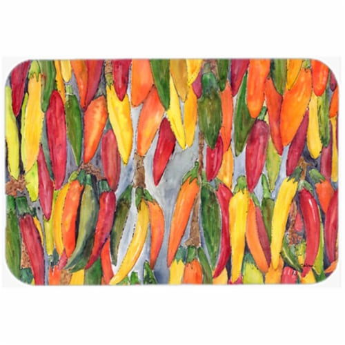 15 X 12 In. Hot Peppers Glass Cutting Board Large Size Perspective: front