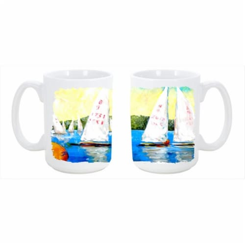 Sailboats Round the Mark Dishwasher Safe Microwavable Ceramic Coffee Mug 15 oz. Perspective: front