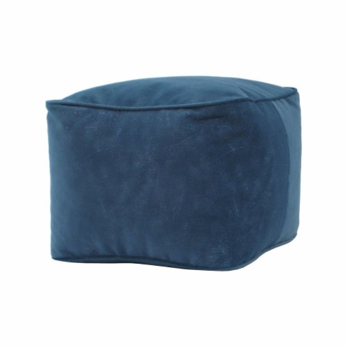 Micro-Fiber Suede Cube Bean Bag Ottoman, Navy Blue - Small Perspective: front