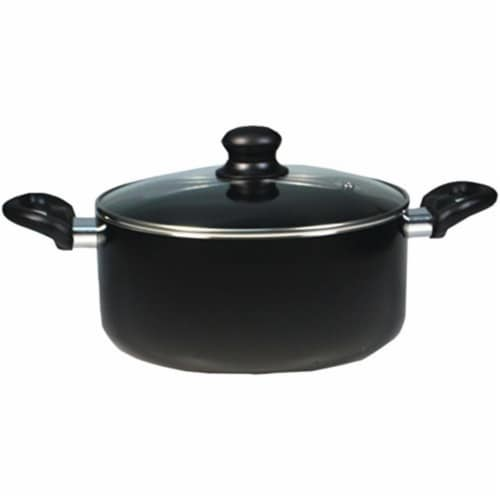 Usa Inc Black Saucepan With Lid, 5.3 qt. Perspective: front
