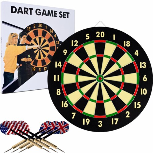 TGT Dart Game Set with 6 Darts & Board Perspective: front