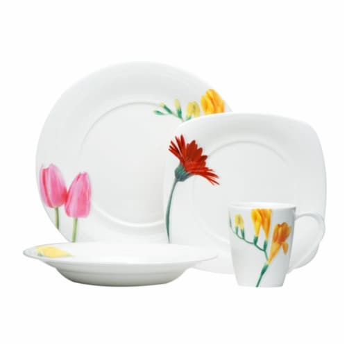 Dutch Garden 16 Piece Dinnerware Set with Square Salad Perspective: front