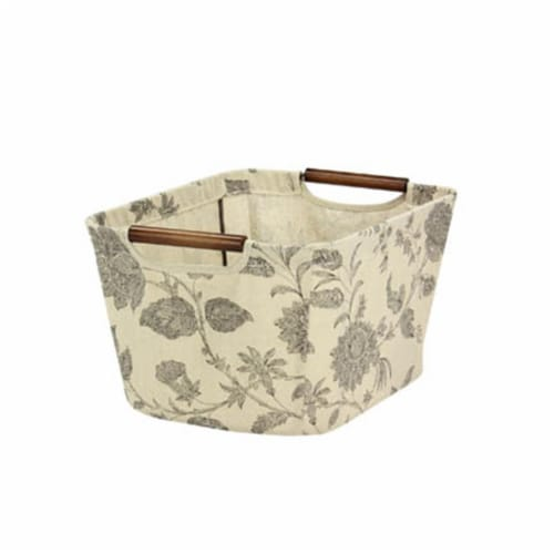 Small Tapered Storage Bin, Tan, Black Floral Perspective: front