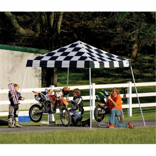 10x10 SL Pop-up Canopy  Checkered Flag Cover  Black Roller Bag Perspective: front
