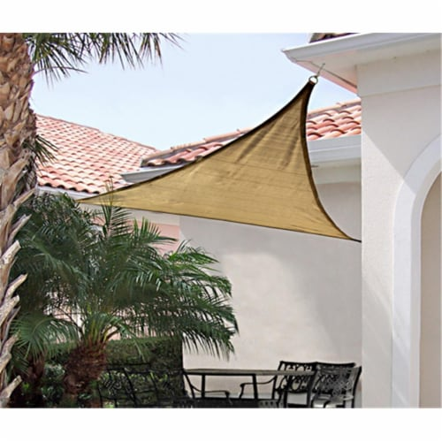 12 ft. - 3 7 m Triangle Shade Sail - Sand 230 gsm Perspective: front