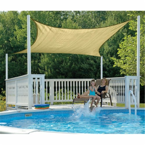 16 ft. - 4 9 m Square Shade Sail - Sand 230 gsm Perspective: front