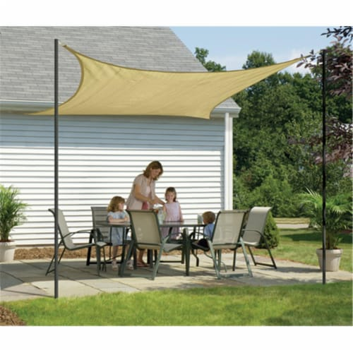 12 ft. - 3 7 m Square Shade Sail - Sand 160 gsm Perspective: front