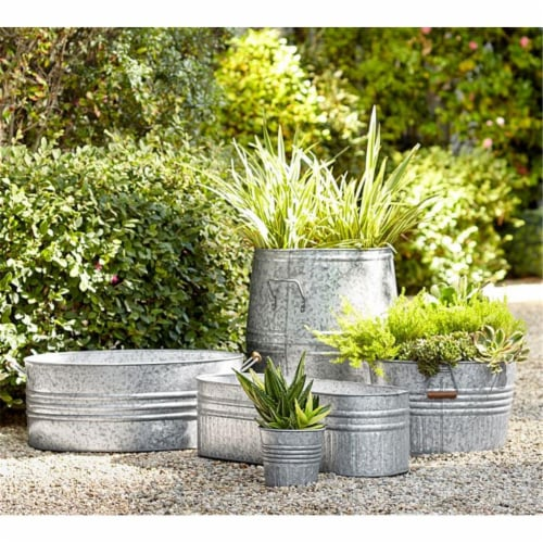 10 in. Galvanized Planter, White Perspective: front