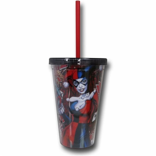 16 oz Harley Quinn Cold Cup with Reusable Ice Cubes Perspective: front