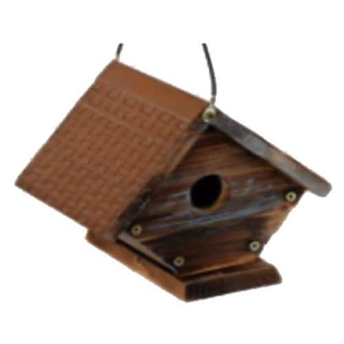 Rustic Wren Bird House with Metal Roof Perspective: front