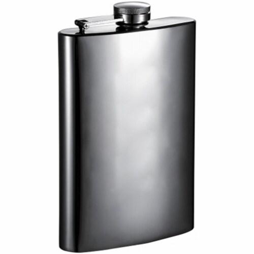 Bronze Mirrored Gunmetal Liquor Flask - 8 oz Perspective: front