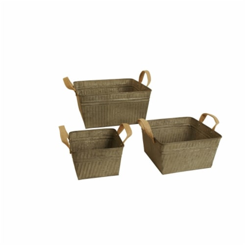 8668-S3-SQ Square Rustic Galvanized Metal Container With Burlap Handles Perspective: front
