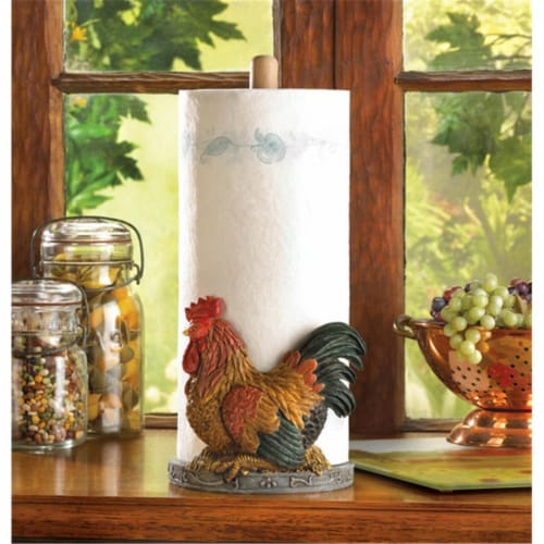 Rooster Paper Towel Holder Perspective: front