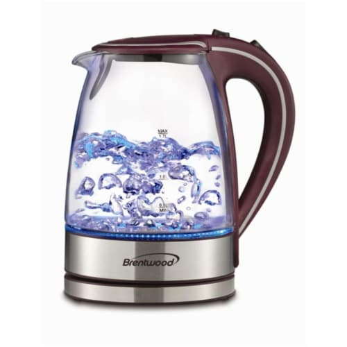 1.7L Tempered Glass Tea Kettle- Purple Perspective: front