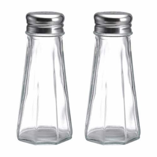 5078610 3 oz Glass Salt & Pepper Set Perspective: front