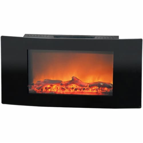 35 in. Wall Mount Electronic Fireplace, Black Perspective: front