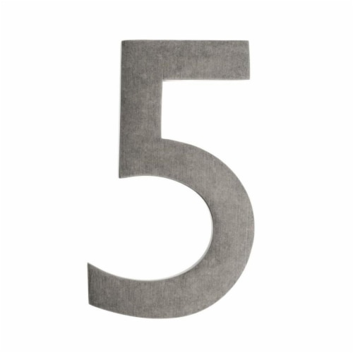 Floating House Number 5, Antique Pewter - 4 in. Perspective: front