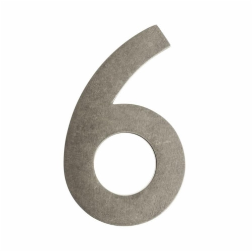 Floating House Number 6, Antique Pewter - 4 in. Perspective: front