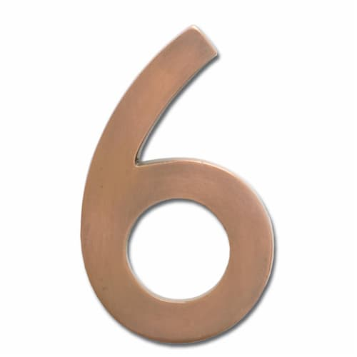 3582AC Number 6 Solid Cast Brass 4 inch Floating House Number Antique Copper ''6'' Perspective: front