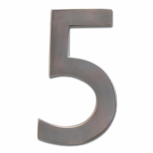 3582DC Number 5 Solid Cast Brass 4 inch Floating House Number Dark Aged Copper ''5'' Perspective: front