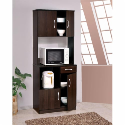 70 x 16 x 28 in. Spacious Kitchen Cabinet, Espresso Brown Perspective: front